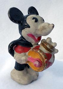 1930s Walt Disney Hand Painted Drummer Mickey Bisque Figurine